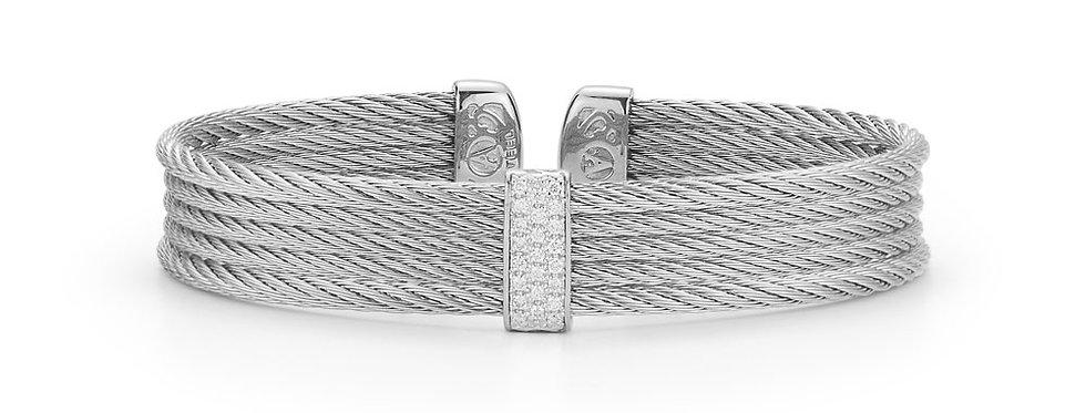 Grey Cable Mini Cuff with 18kt White Gold & Diamonds Ref. 04-32-S651-11