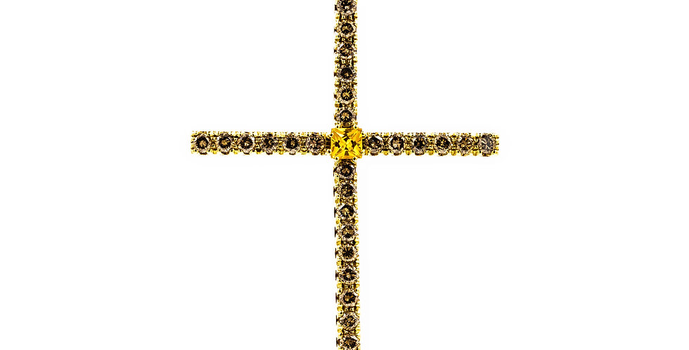 Yellow Gold Yellow Diamond/Sapphire Ladies Cross Necklace