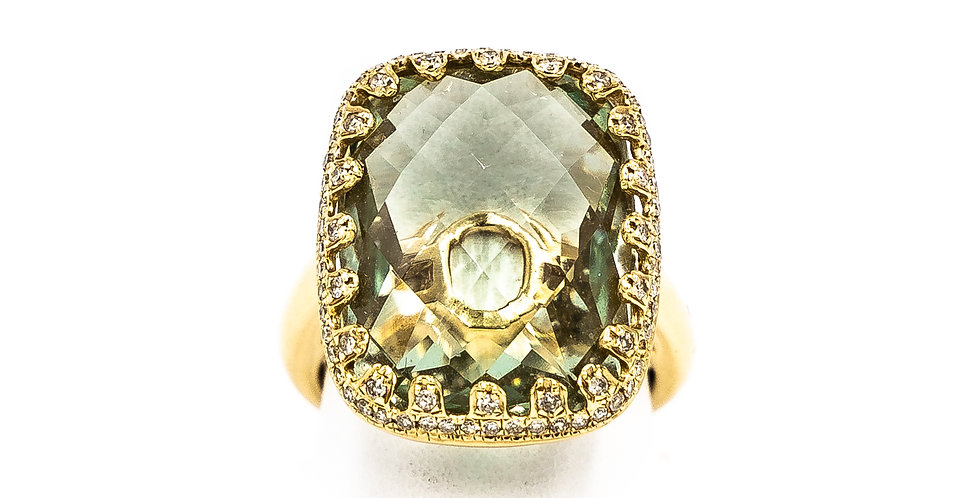 Yellow Gold Green Amethyst Diamonds Around Stone Ring
