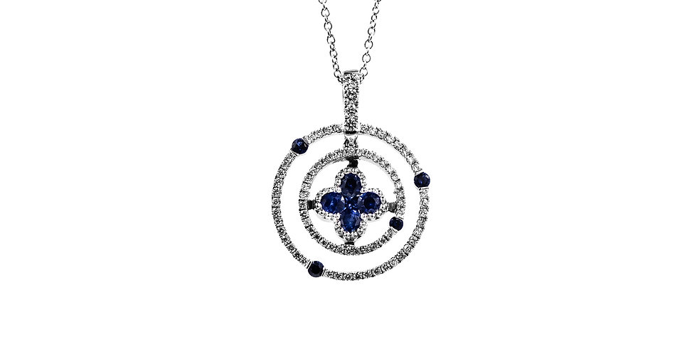 White Gold Diamond/Sapphire Clover Halo Necklace