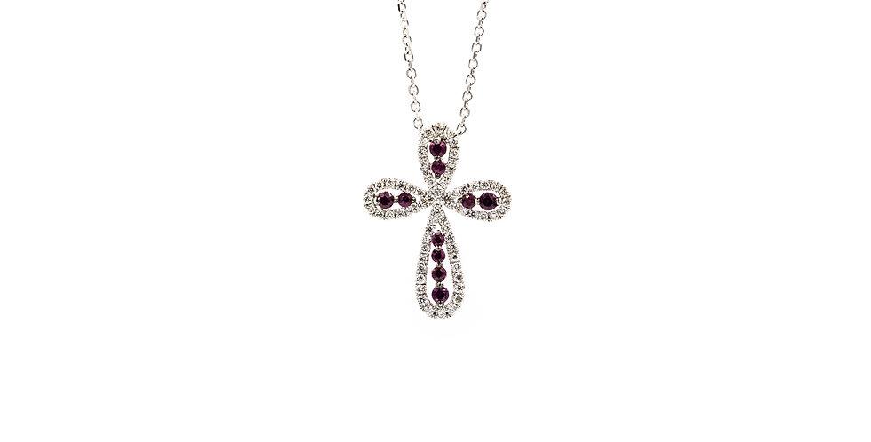 White Gold Diamond Halo Antique Ruby Cross Ladies Necklace