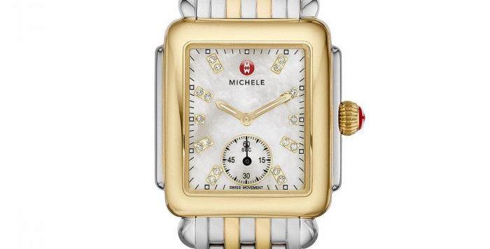 Michele Deco Mid Two-Tone, Diamond Dial on Two-Tone Bracelet Watch MWW06V000042