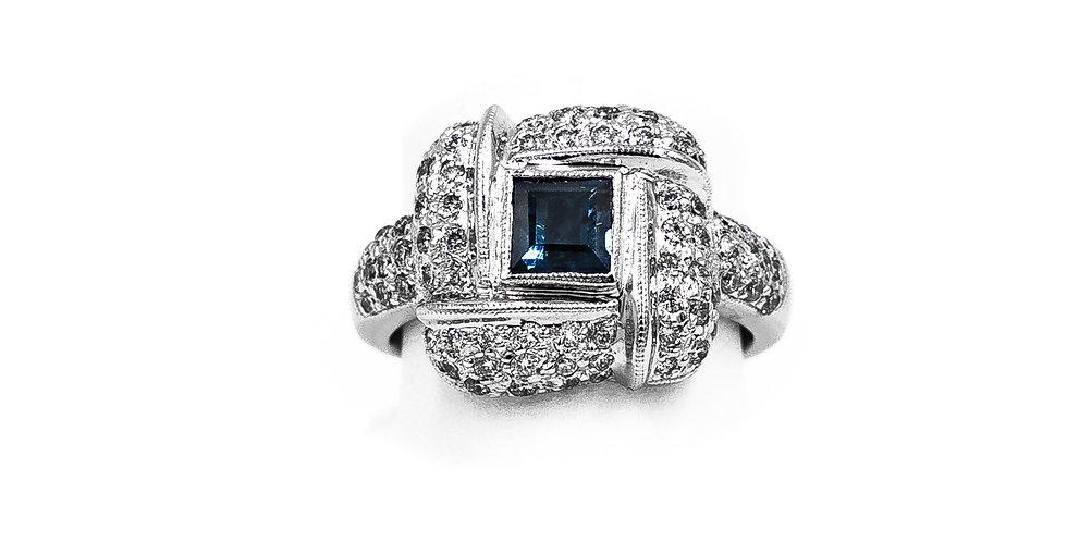 White Gold Princess Sapphire Center Ring