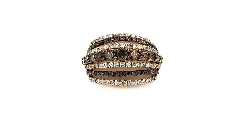 Rose Gold Champagne & White Diamond Ring