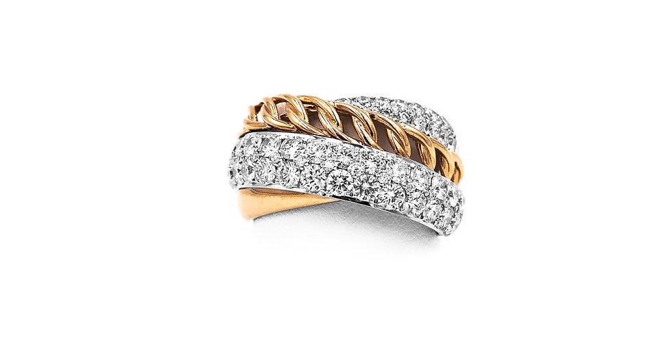 Rose Gold 2 Rows Pave Diamond Ring