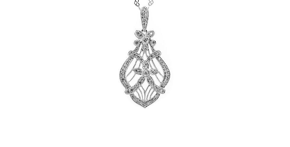 Classic White Gold Diamond Vintage Filigree Necklace
