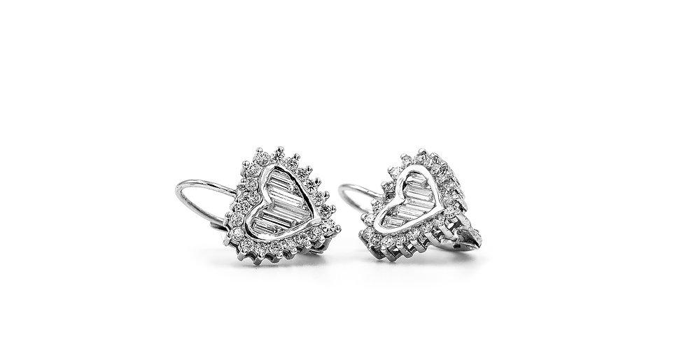 Classic Diamond Heart Shape Huggie Dangle Hoop