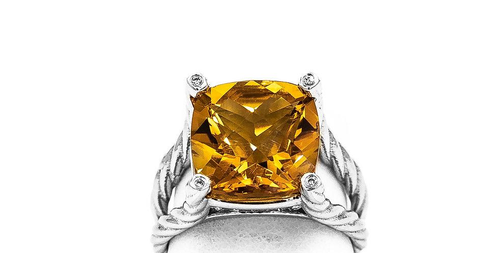White Gold Cushion Citrine Bezel Diamonds On Prongs Ring