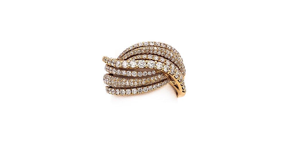 Rose Gold 7 Rows 2 Pave 5 Micro Set Diamond Ring