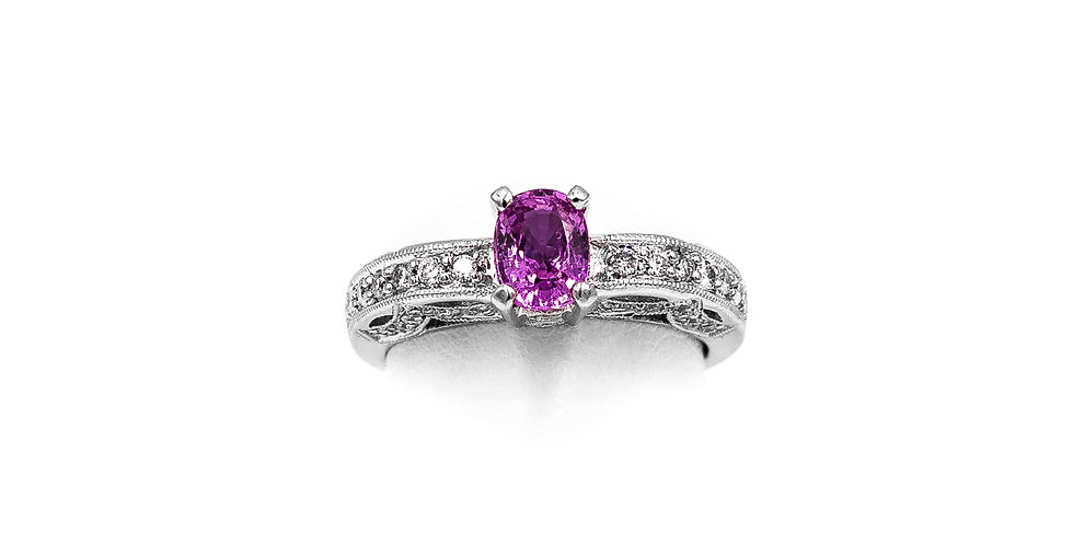 White Gold Pink Oval Sapphire Miligrain Channel Ring