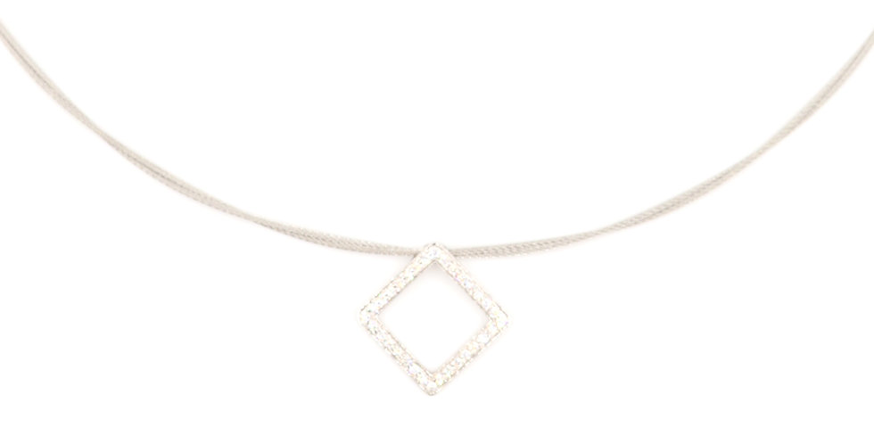 Alor Grey Cable Necklace With White Gold Diamond Pendant Ref. 08-32-S734-11
