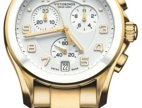 Victorinox Swiss Army Chrono Classic Ceramic Bezel Gold Tone Watch 241537