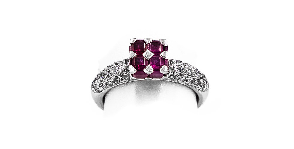 White Gold Square Ruby Diamond Dome Pave Set Ring