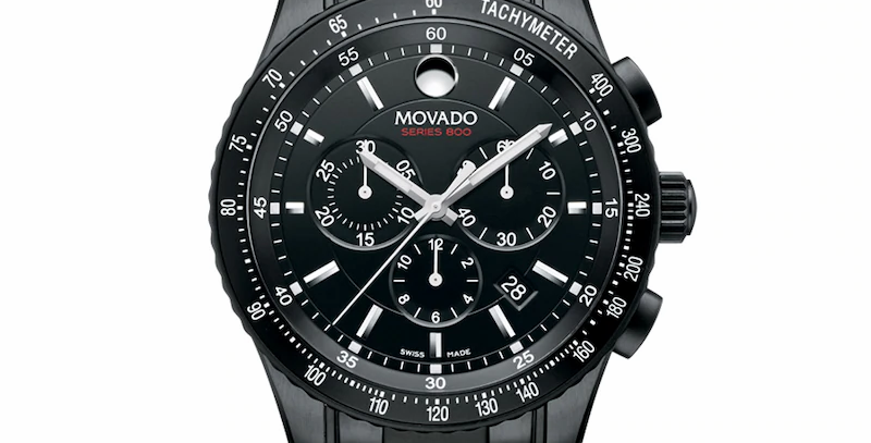 Movado Series 800 Chronograph Black PVD Stainless Steel Men's Watch 2600107