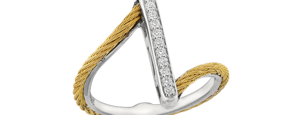 Alor Twisted Gold Cable Diamond Bar Ring Ref. 02-37-S711-11