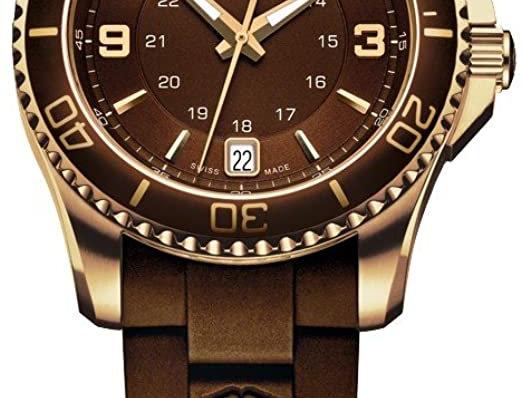 Victorinox Swiss Army Maverick GS Small Gold Brown Rubber Strap Watch 241615