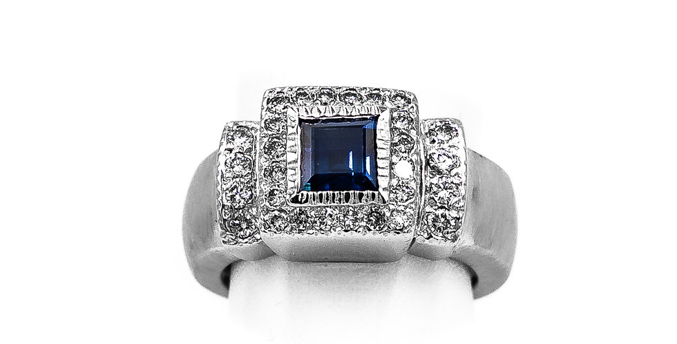 White Gold Diamonds/Sapphire Princess Cut Ring