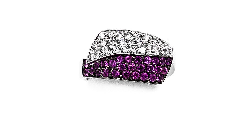 White Gold Pink Sapphire Diamonds Pave Bypass Ring