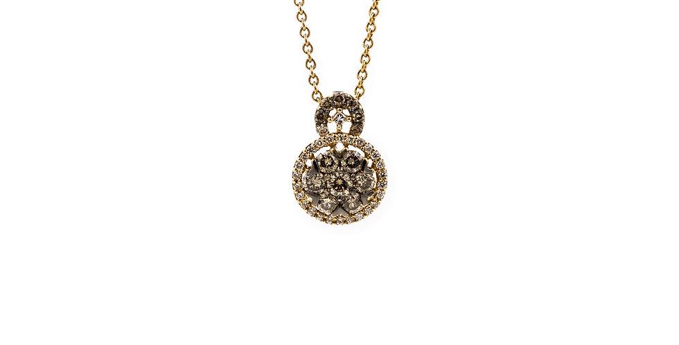 Yellow Gold White & Champagne Diamonds Halo Necklace