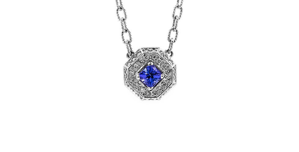 White Gold Tanzanite Diamond Octagon Halo Pendant Necklace