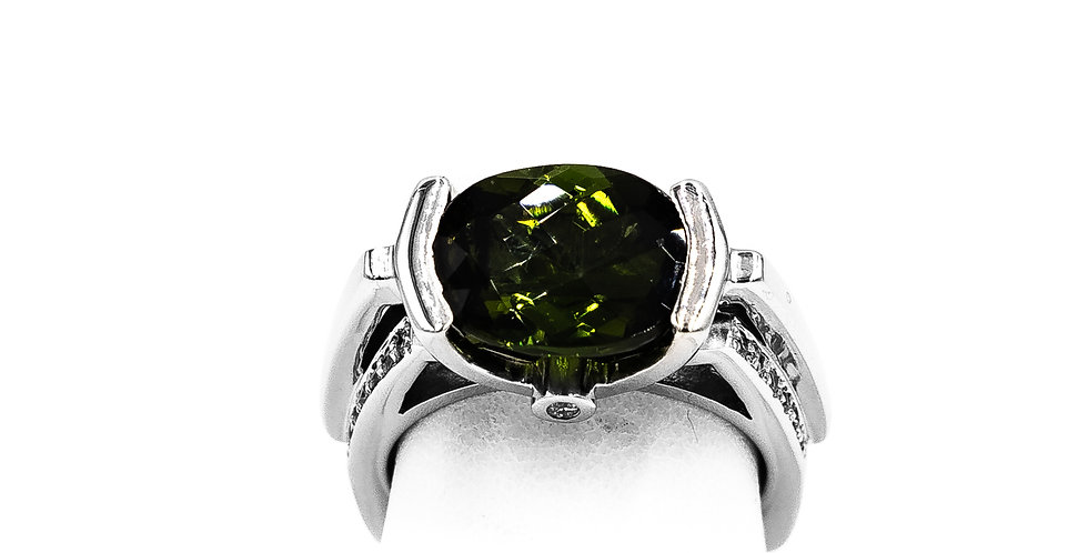 White Gold Green Oval Tourmaline Tension Setting Ring