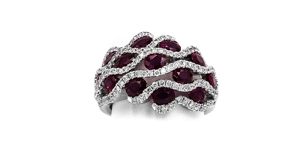 White Gold Ruby/Diamond Dome Style Ring