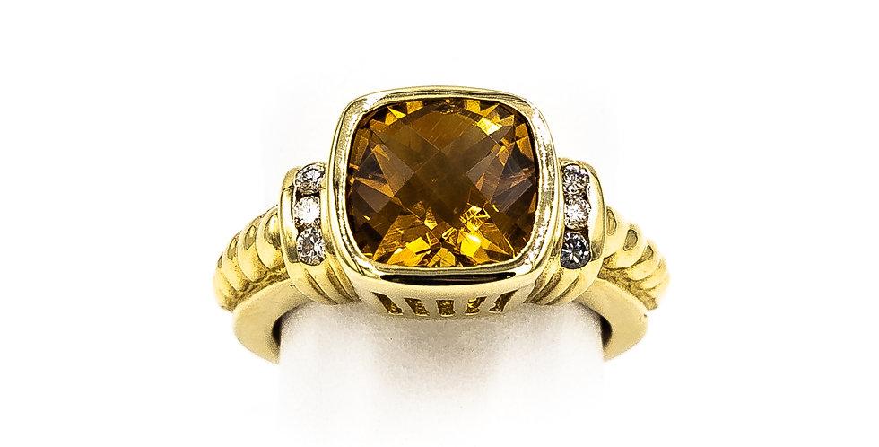 Yellow Gold Citrine Cushion Stone Two Bars Of Diamonds Ring