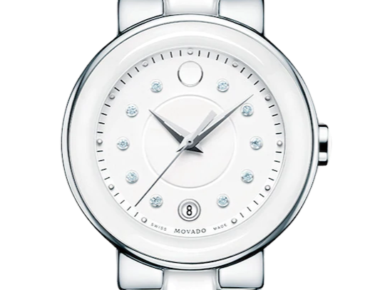 Movado Cerena White Ceramic Stainless Steel Ladies Watch 0606540