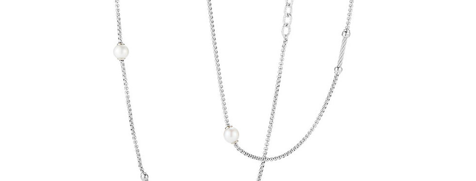 Grey Chain Reaction Necklace with Freshwater Pearls
