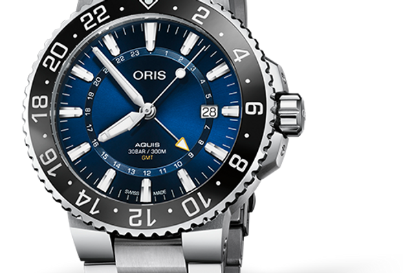 ORIS Aquis GMT Date Stainless Steel Men's Watch 01 798 7754 4135-07 8 24 05PEB