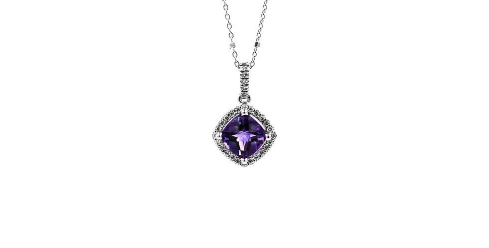 Classic White Gold Halo Diamond Amethyst Necklace