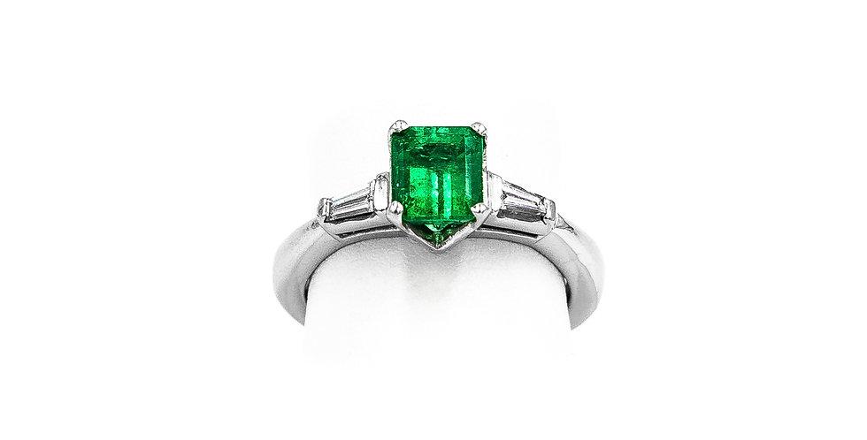 Platinum Tapered Emerald Princess Center Ring