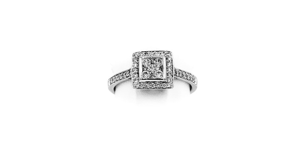 White Gold Square Halo With 5 Round Center Diamond Ring