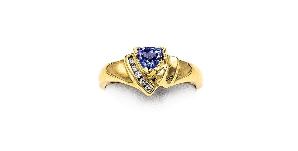 Yellow Gold Tanzanite Trillion Diamond Channel Ring