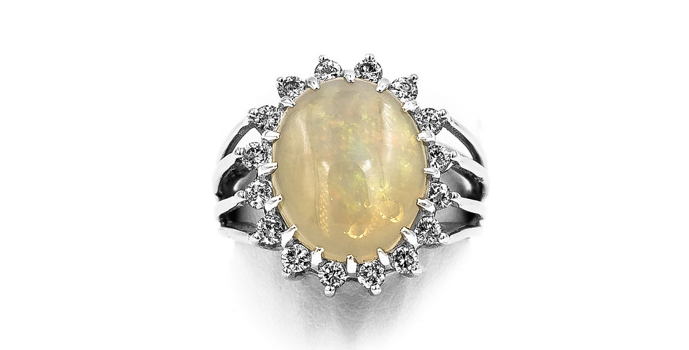 White Gold Oval Opal Diamond Halo Ring