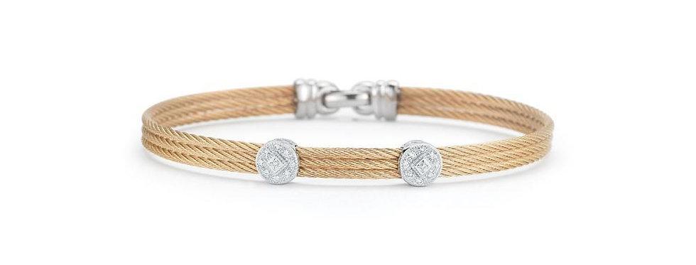 ALOR Classique Bangle 18k Rose Gold Double Diamond Station 04-35-S822-11