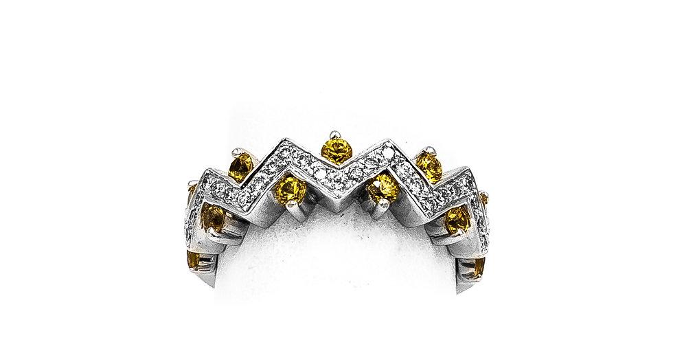 White Gold Diamond Citrine Zig Zag Setting Ring