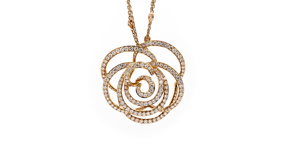 Rose Gold Open Flower Micro Pave Set Diamond Necklace