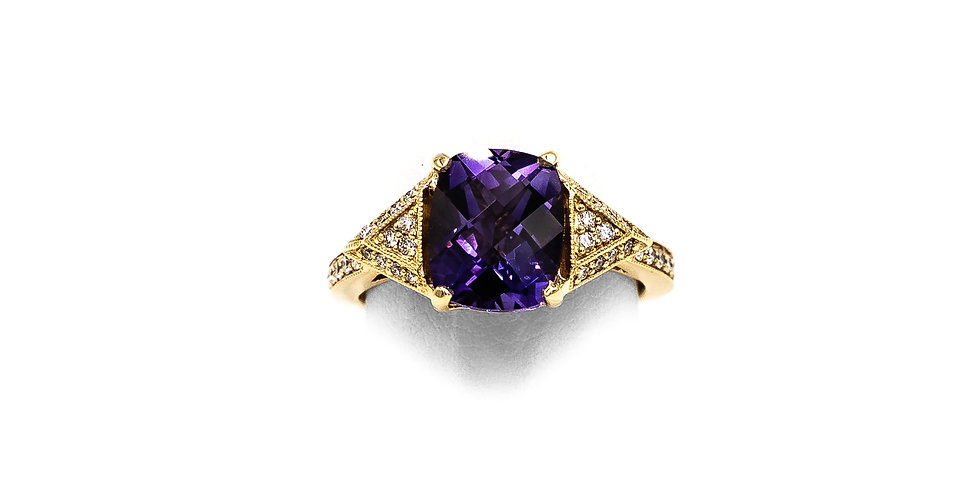 Yellow Gold Amethyst Diamond On Shank Ring
