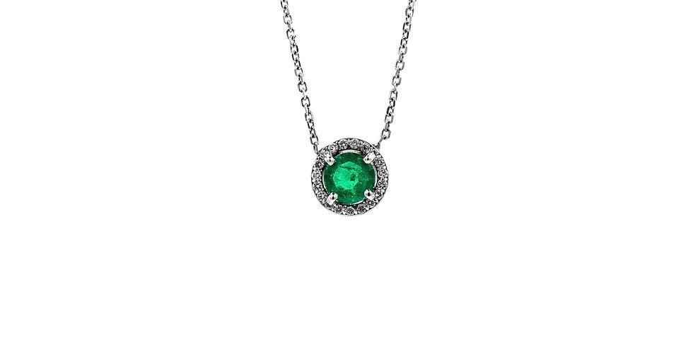 Classic White Gold Diamond Halo Emerald Necklace