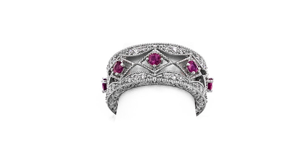White Gold Antique 7 Ruby Band Ring