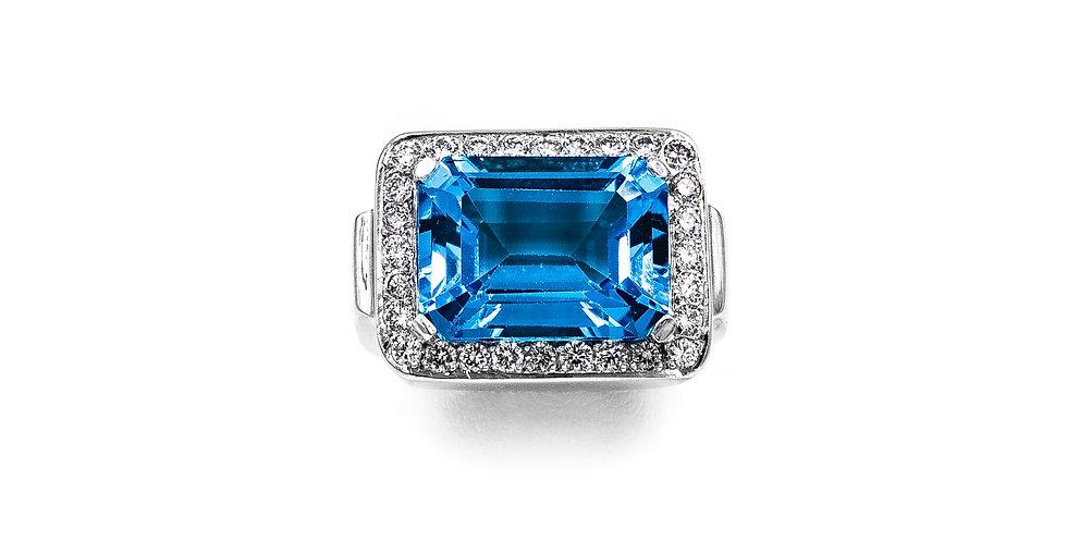 White gold Emerald Shape Blue Topaz Diamond Halo Ring