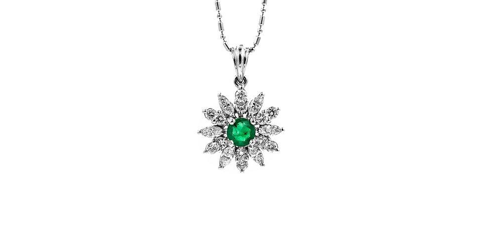White Gold Diamond/Emerald Center Starburst Necklace