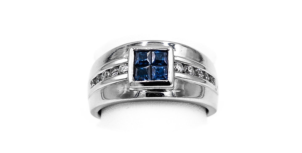 White Gold Channel Princess Sapphire Center Ring