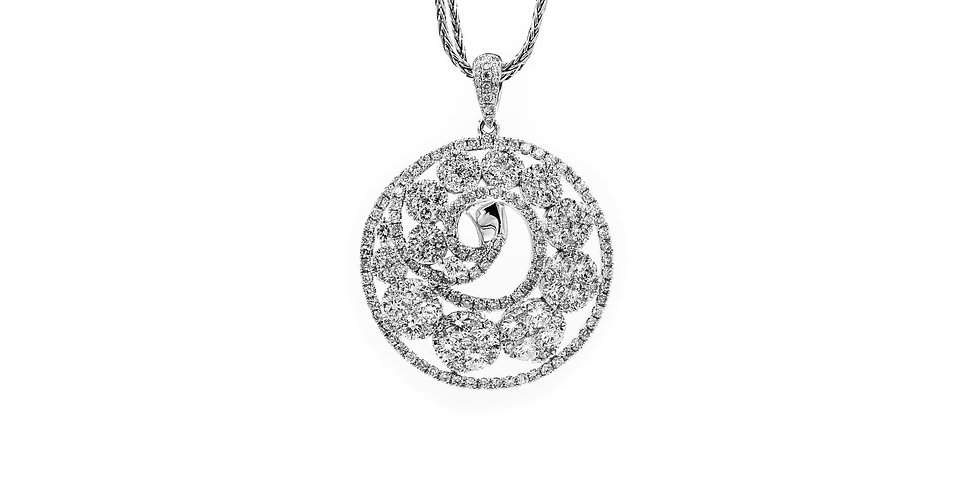 White Gold Circle With Full Cut Diamond Clusters