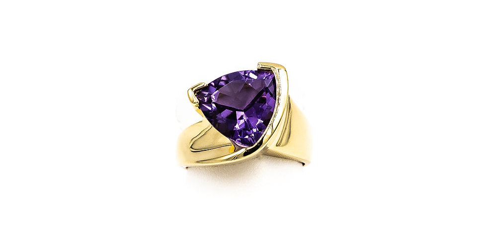 Yellow Gold Trillion Amethyst HP Setting Bezel Set Ring