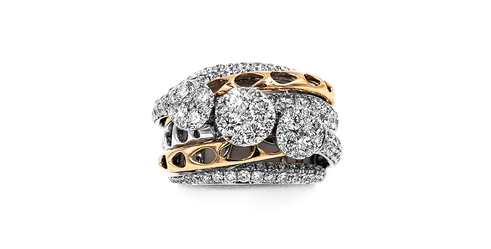 Rose Gold Two Tone Cigar Band 3 Cluster Center With Pave Diamond Ring