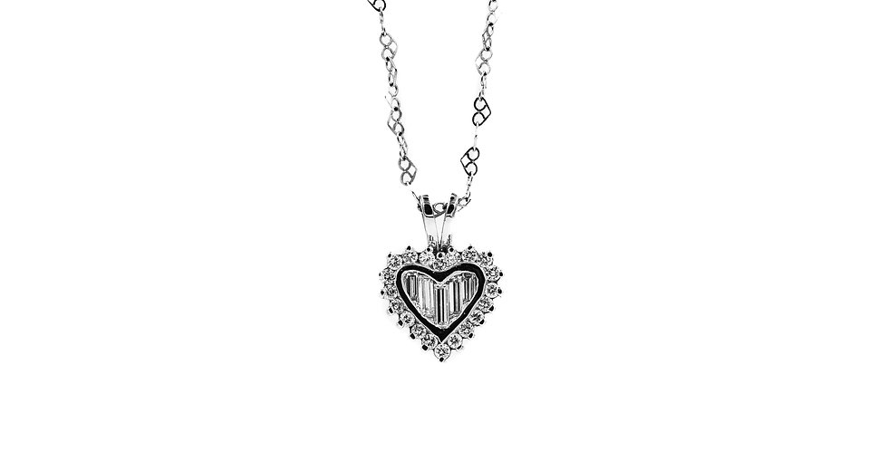 Classic White Gold Diamond Heart Necklace