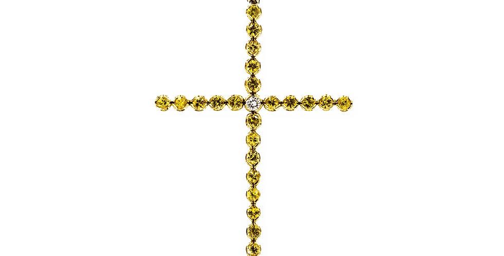 Yellow Gold Yellow Sapphire/Diamond Ladies Cross Necklace