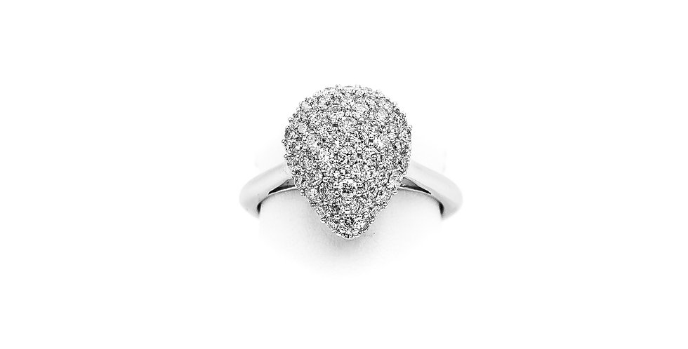 White Gold Pear Shape Pave Cluster Diamond Ring
